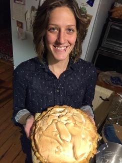 Shana holding pie