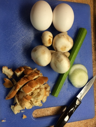 Bread, eggs, mushrooms, onion, and celery