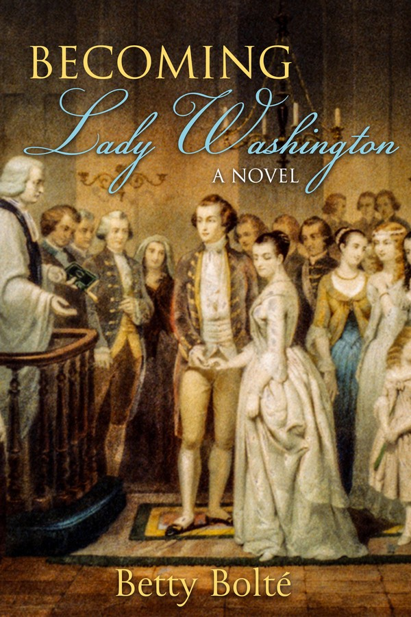 Cover of Becoming Lady Washington showing the marriage of Martha and George Washington