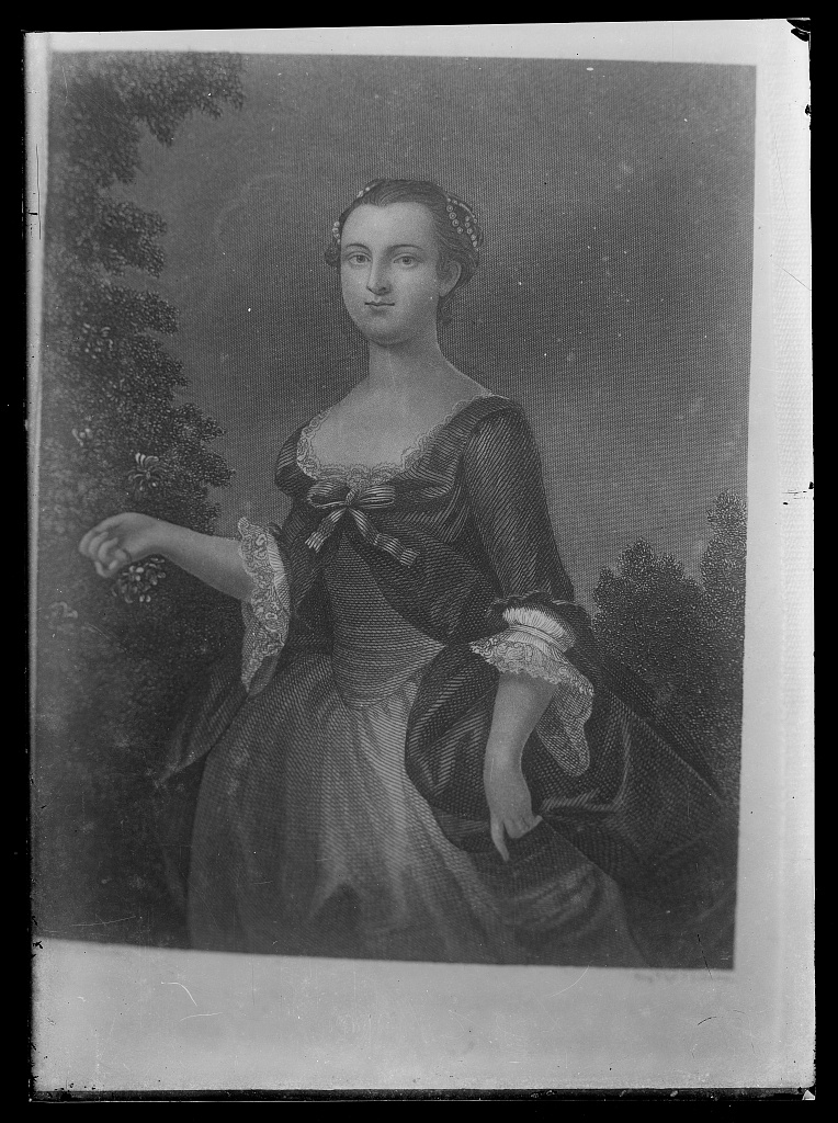 Image of Martha Washington as a young woman showing the lace, ruffles, bows, and hair decor.