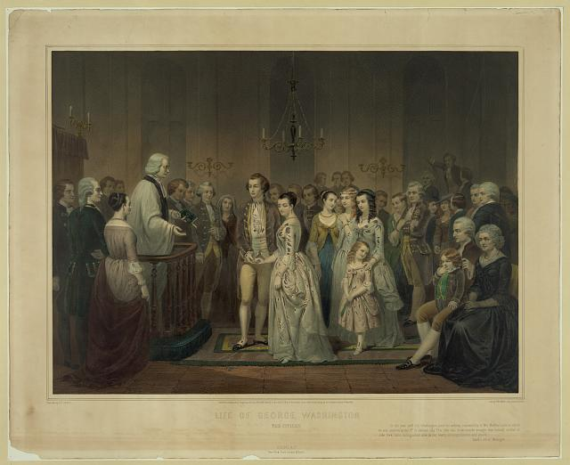The wedding attire of George and Martha Washington is typical finery of the 18th century but is not accurate since the dress she's wearing in the image is not the same one in the museum.